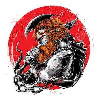 Hombre vikingo con luna roja.