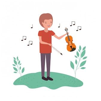 Hombre con violín en personaje de avatar de paisaje