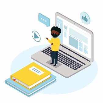 Hombre virtual en la computadora portátil que enseña en línea