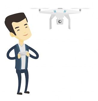 Hombre volando drone ilustración.