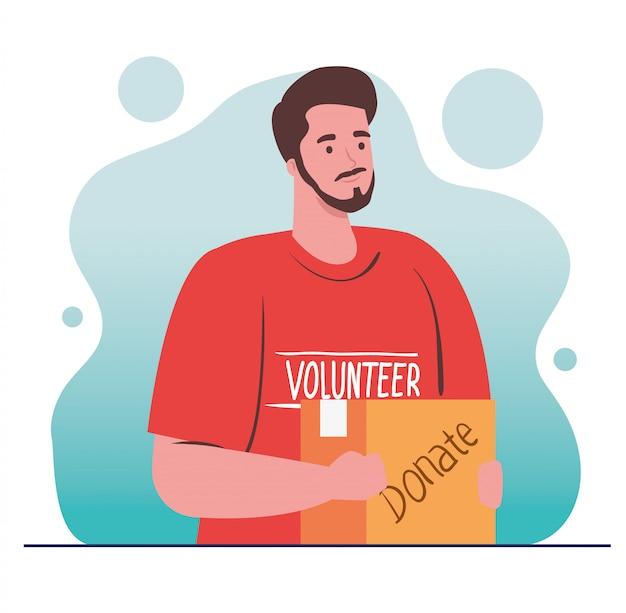Hombre voluntario con caja de donación, caridad y concepto de donación de asistencia social