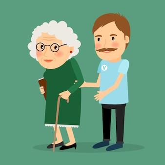 Hombre voluntario cuidando anciana