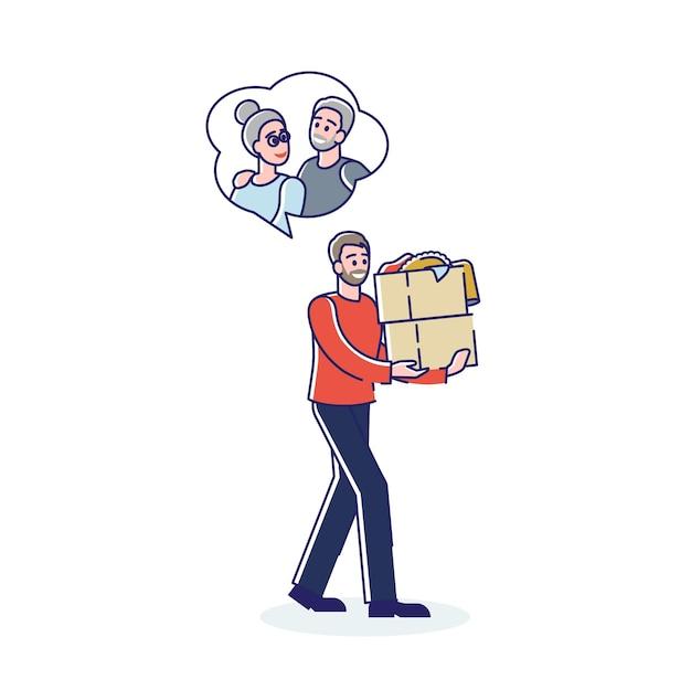 Hombre voluntario entregando comida para la pareja de ancianos de hombre y mujer