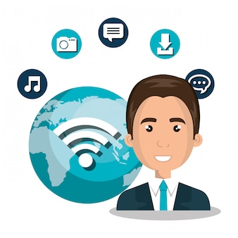 Hombre wifi en línea aislado