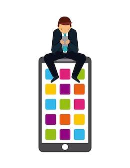 Hombre y teléfono inteligente con cuadrados de colores en la pantalla