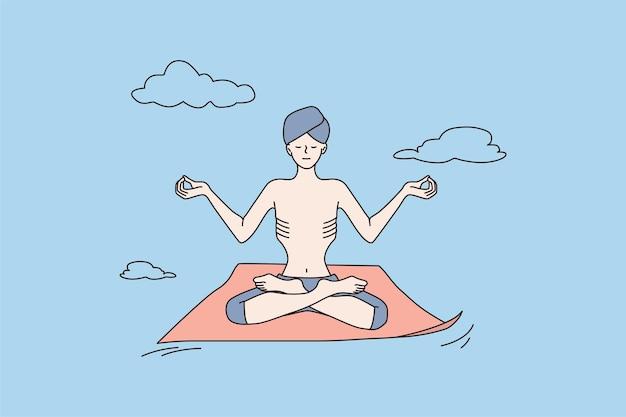 Hombre yogui en turbante practicar yoga meditar