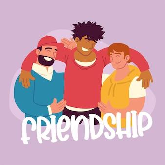 Hombres abrazando el día de la amistad