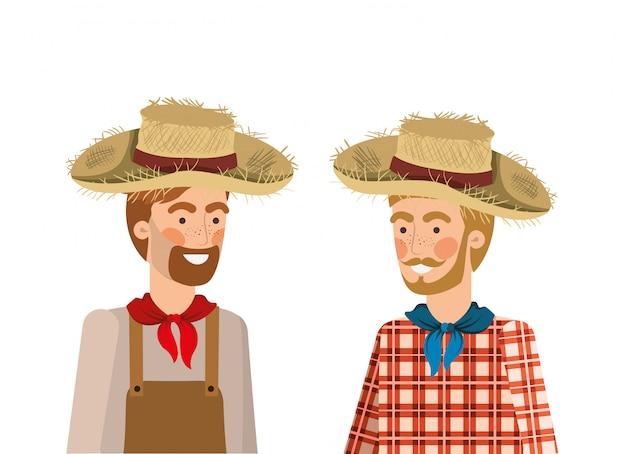 Hombres agricultores hablando con sombrero de paja