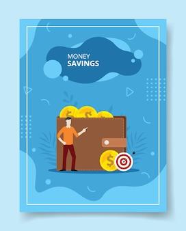 Los hombres de ahorro de dinero de pie frente a la billetera moneda flecha objetivo tablero, cartel.