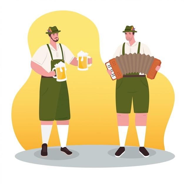 Hombres alemanes en traje nacional con acordeón y jarras de cerveza para la celebración del festival oktoberfest, diseño de ilustraciones vectoriales