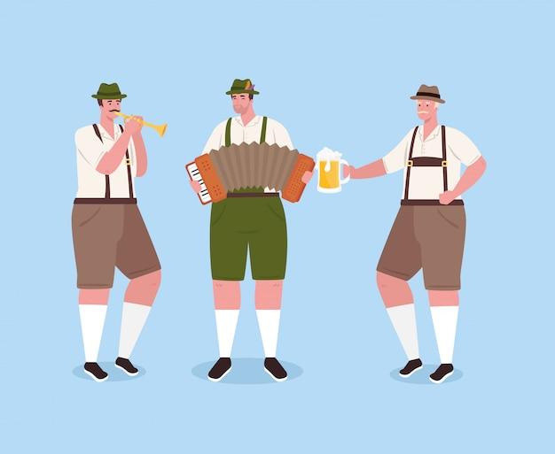 Hombres alemanes en traje nacional con instrumentos musicales y jarra de cerveza para la celebración del festival oktoberfest, diseño de ilustraciones vectoriales