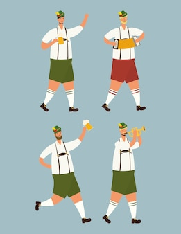 Hombres alemanes vistiendo trajes tiroleses bebiendo cervezas personajes, diseño de ilustraciones vectoriales