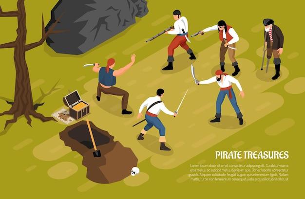 Hombres armados durante la lucha por los tesoros piratas en la ilustración isométrica horizontal verde