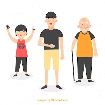 Hombres asiáticos de diferentes edades