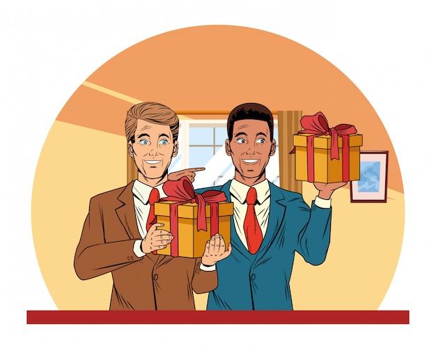Hombres avatar con caja de regalo pop art.