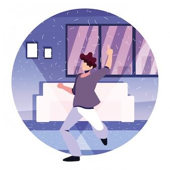 Hombres bailando en casa, fiesta, música y vida nocturna.