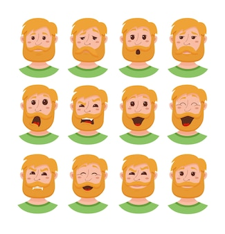 Los hombres de barba expresión facial iconos aislados.