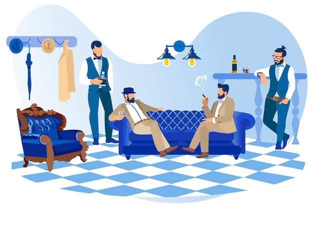 Hombres barbudos y elegantes que fuman cigarros, beben alcohol