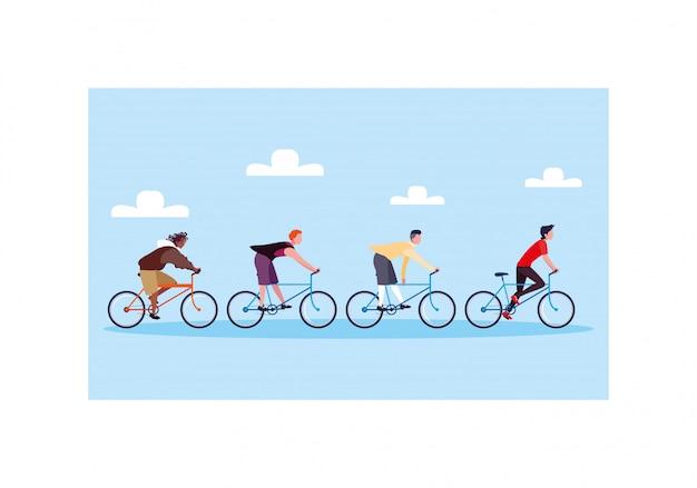 Hombres con bicicleta, hombres con estilo de vida saludable.