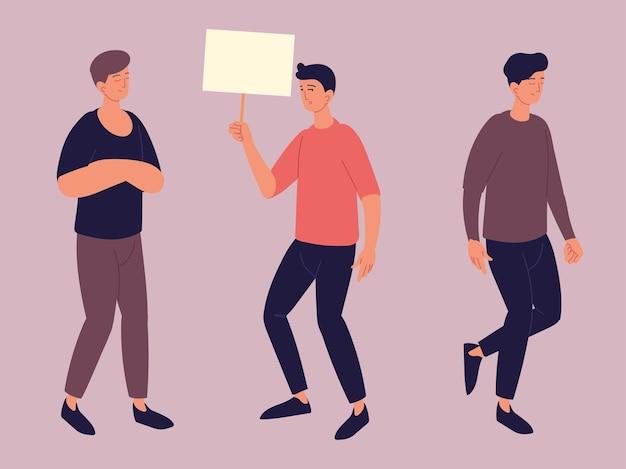 Hombres caminando y sosteniendo cartel.