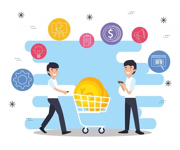 Hombres con carro de compras y monedas de negocios