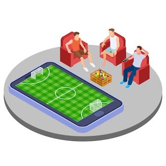 Los hombres con cerveza miran fútbol en línea