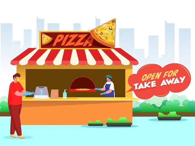 Los hombres del cliente y del comprador usan ambas máscaras protectoras en la pizzería con el texto del mensaje abierto para llevar para prevenir el coronavirus.