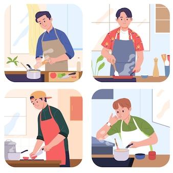 Hombres cocinando ingrediente alimentario en la cocina de casa
