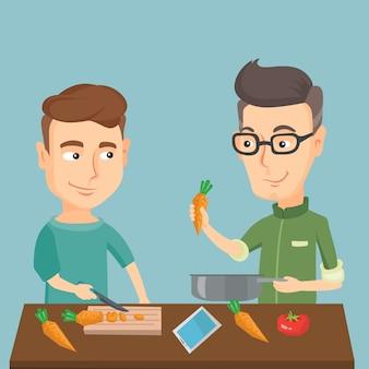 Hombres cocinando vegetales saludables.