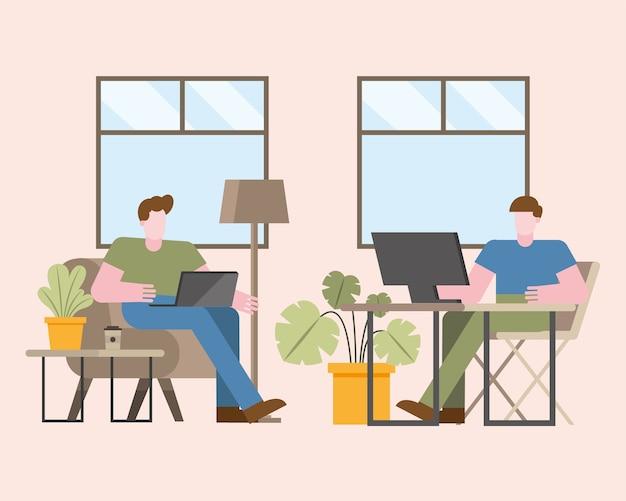 Hombres con computadora portátil y computadora trabajando desde el hogar diseño de ilustración de vector de tema de teletrabajo