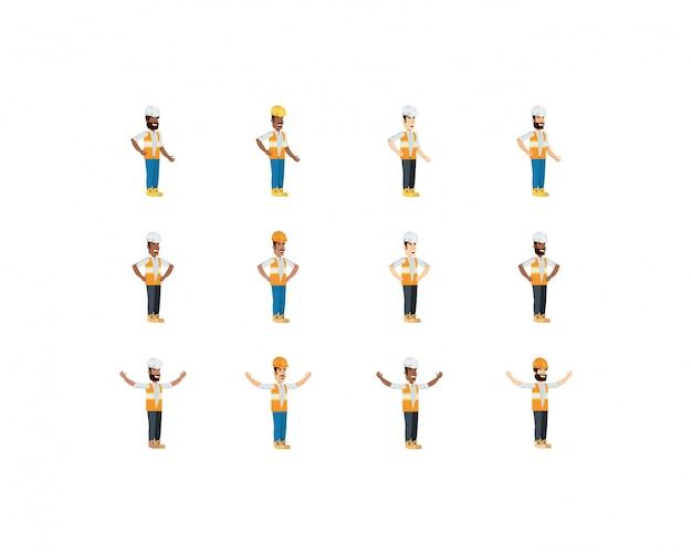 Hombres constructores aislados con conjunto de casco amarillo y blanco