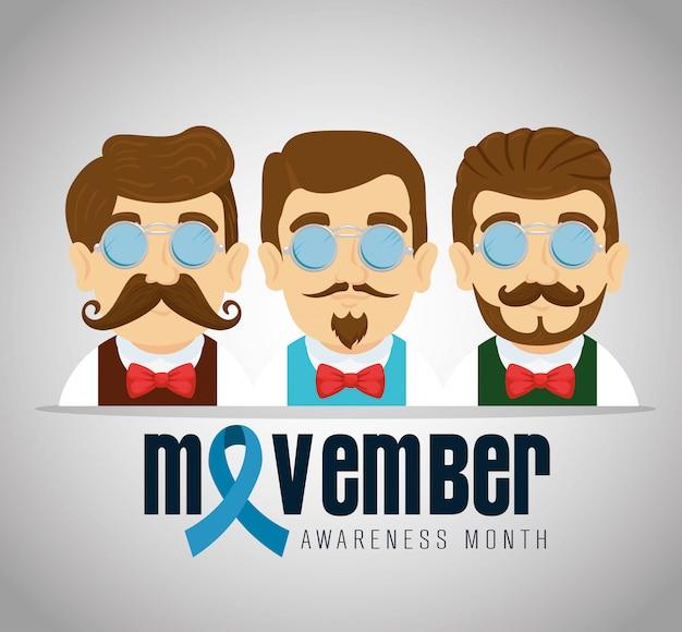 Hombres con corbata de moño y bigote con cinta azul