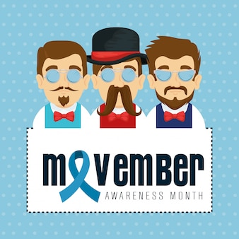 Hombres con corbata de moño con bigote y cinta azul