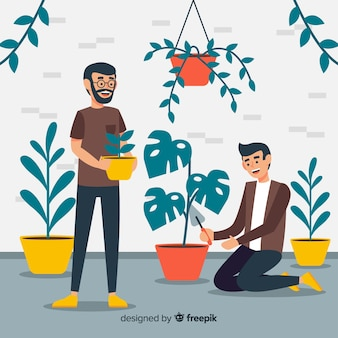 Hombres cuidando las plantas