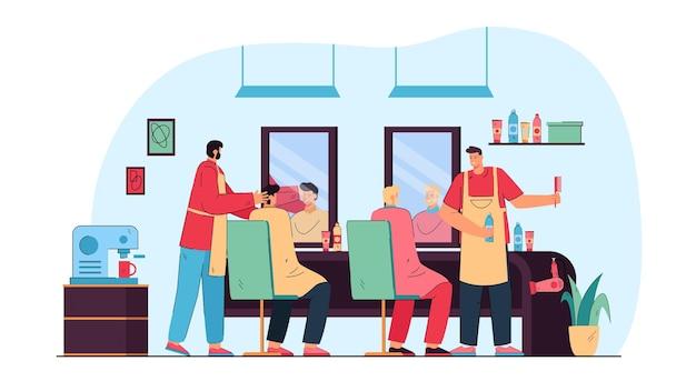 Hombres de dibujos animados cortándose el pelo en la barbería. ilustración plana