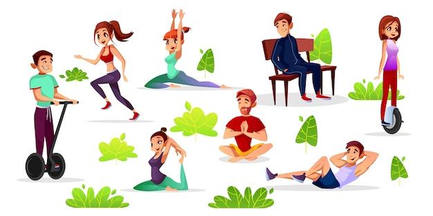 Hombres de dibujos animados, mujeres haciendo deportes en el parque.
