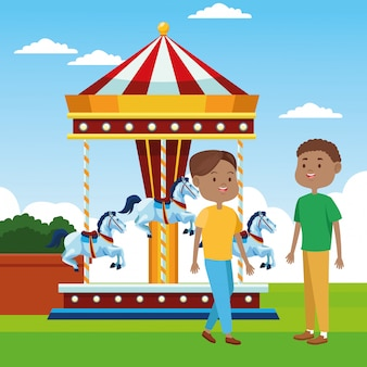 Hombres de dibujos animados de pie sobre carrusel de caballos