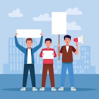 Hombres de dibujos animados protestando con carteles en blanco y megáfono