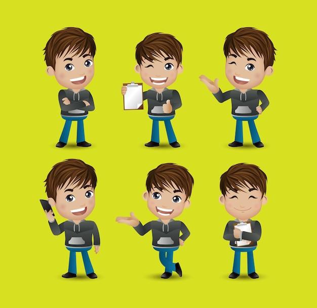 Hombres con diferentes poses