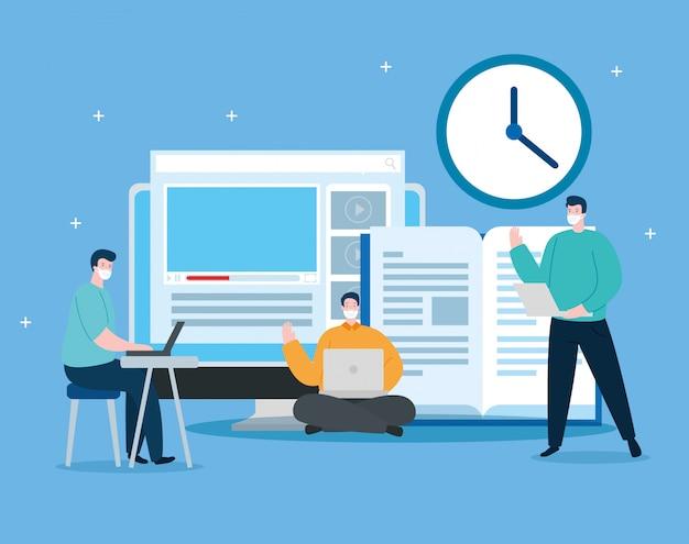 Hombres en educación en línea con diseño de ilustración de computadora