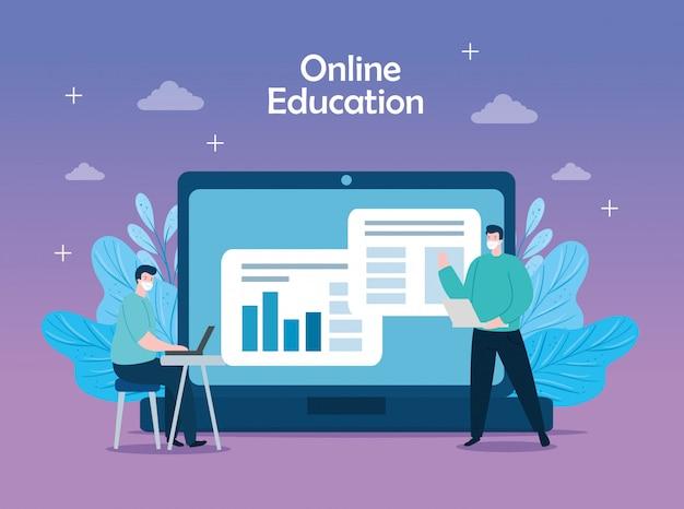 Hombres en educación en línea con diseño de ilustración de iconos