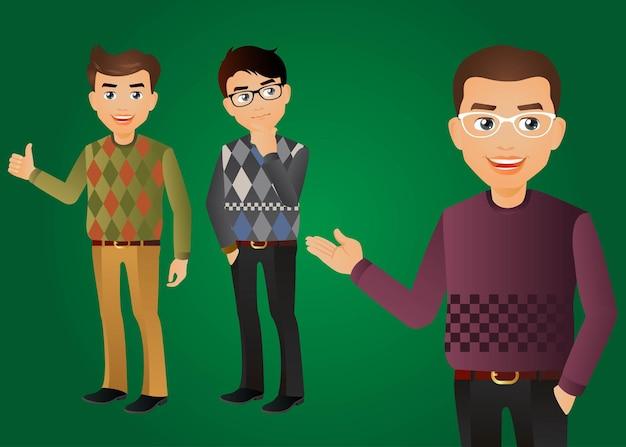 Hombres elegantes en ropa de moda