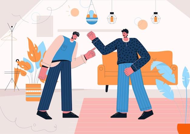 Hombres enojados gritando y discutiendo en casa