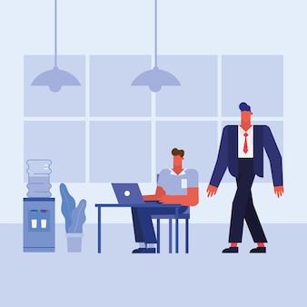 Hombres en el escritorio con computadora portátil en el diseño de la oficina, la fuerza laboral de los objetos comerciales y el tema corporativo