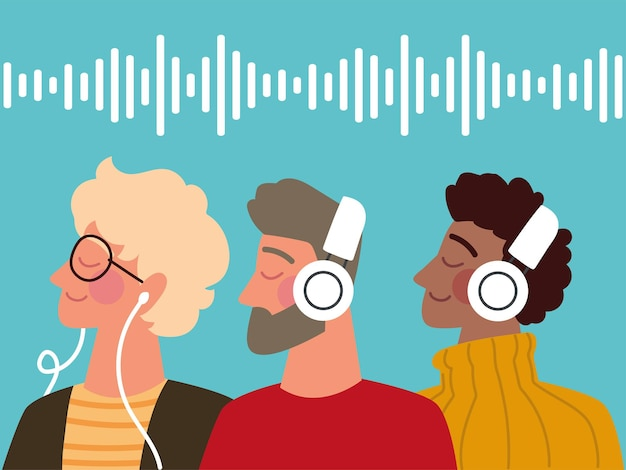 Hombres escuchando podcast