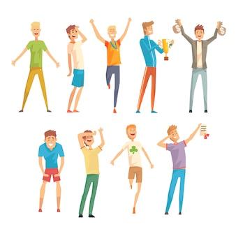 Hombres exitosos en ropa casual y deportiva disfrutando de su suerte, hombres jóvenes de pie y saltando con alegría ilustraciones sobre un fondo blanco.