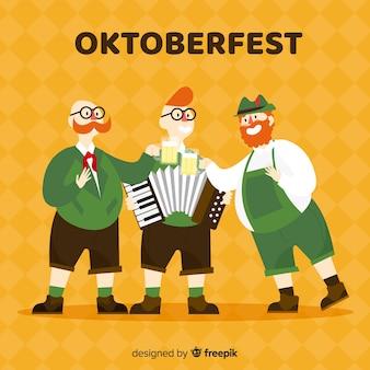 Hombres felices celebrando el oktoberfest con diseño plano