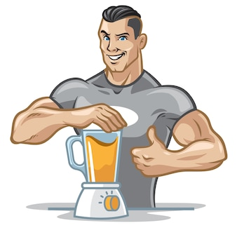 Hombres fitness preparando su comida saludable usando licuadora