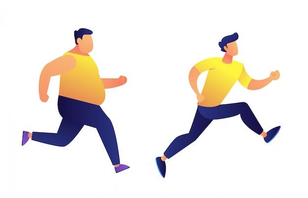 Hombres gordos y delgados corriendo ilustración vectorial.