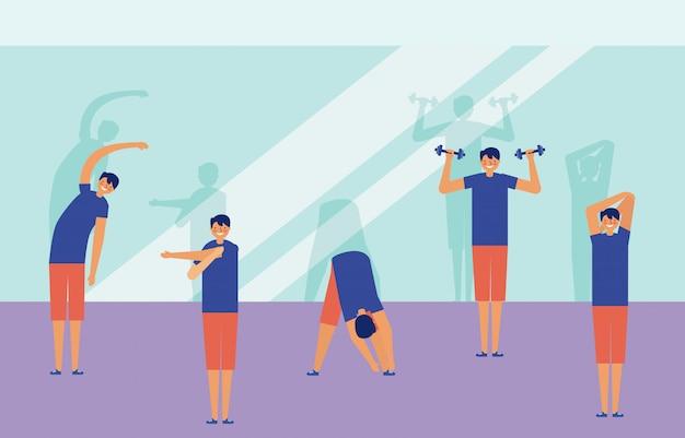 Hombres haciendo ejercicio en una habitación, ilustración de fitness